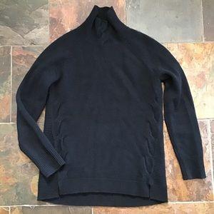 black GARNET HILL cashmere mock turtleneck sweater